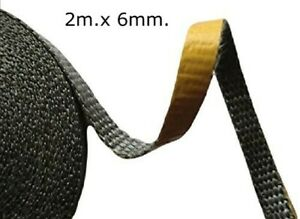 Poêle Joint de Verre Bande Feu Corde Joint Adhésif Noir Fibre Fibro 2m