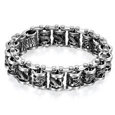 """9"""" Large Heavy Gothic Dragon Chain Biker Stainless Steel Men's Bracelet*19MM"""