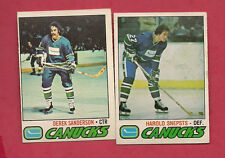 1977-78 OPC VANCOUVER CANUCKS SNEPSTS + SANDERSON   CARD