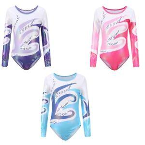 Kid Girls Long Sleeve Ballet Gymnastics Dance Leotard Bodysuit Dancewear Costume