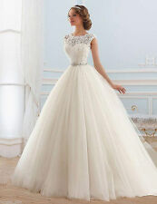 White Ivory Lace Wedding Dress Bridal Gown Custom Size 6 8 10 12 14 16 18 20