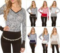 KouCla Pullover Strickpullover Sweater Pulli mit Leo Print