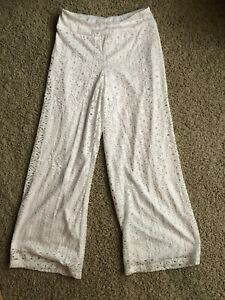 Womens Summer Wide Leg White Lined Lace Pants Sz XS