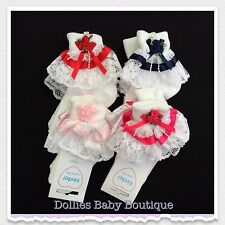 Baby Bow and Diamante Detail Girls Grape Lace Frilly Sock with Ribbon
