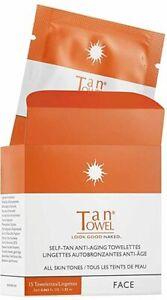 Face Tan Self-Tan Anti-Aging Towelette by Tan Towel, 15 count
