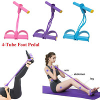 Unisex 4 Tube Foot Pedal Resistance Band Elastic Sit-Up Pull Rope Yoga Fitness G