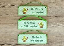 PET PERSONALISED PLAQUE Rustic Hanging Reversible Sign Feed Tortoise or Turtle