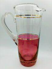 New ListingAtomic Modern 1950's Vintage Blendo Glassware Cranberry & Gold Pitcher