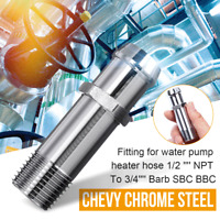 Car Water Pump Heat Pipe Fit For Chevy Heater Hose 1/2'' NPT To 3/4'' Barb SBC