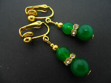 A PAIR OF  GREEN JADE   GOLD PLATED   CLIP ON  EARRINGS. NEW.