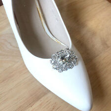 Vintage Style Motif Rhinestone Crystal Diamante High Heel Charm Shoe Clips Pair