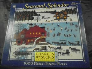 """Outstanding Charles Wysocki 1000 pc puzzle """"RED MILL POND"""""""
