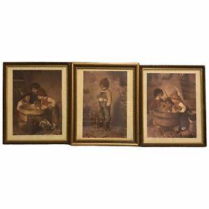 Rare HTF 3 Vintage Prints of Children Based in the 1800's Fishing Wine Barrel