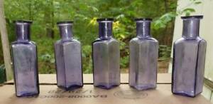 SUNROOM DECORATOR BOTTLES-Five Small Square Medicine Bottles-Dark Amethyst-1890s