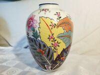 """Vtg Tobacco Leaf by Mann Vase Fine China 9½"""" Japan"""