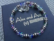 NEW ALEX and ANI Crystal MULTI MOSAIC SOUK Russian SILVER Beaded WRAP BRACELET