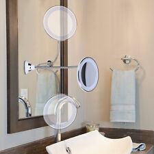360Degree Mirror Bathroom Shaving Cosmetic Mirror Suction Cup Magnifying 10X LED