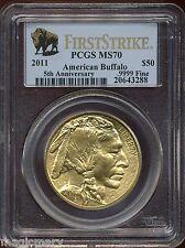 2011 $50 5th Anniversary 1 oz Gold Buffalo PCGS MS 70 First Strike #20643288