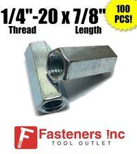 """(100) 1/4""""-20 x W3/8"""" x L7/8"""" Coarse Grade A Hex Rod Coupling Nut Zinc Plated"""