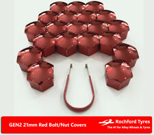 Red Wheel Bolt Nut Covers GEN2 21mm For Hyundai Terracan 01-09
