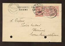 FINLAND 1920 STATIONERY CARD DOUBLE 10p IMPRESSION + 20p PROVISIONAL ADHESIVE