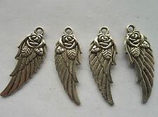20pcs Tibetan silver feather charm pendant 31x11mm