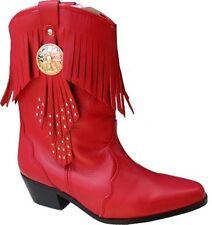 Onorevoli ROSSO 100% IN PELLE NAPPA Stivali Cowboy Western Cowgirl Tassle Frangia Stivali