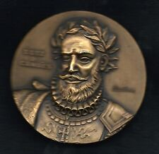 Literature Poet Camões Book Lusíadas / World Earth Flags BIG Bronze Medal! M.16c