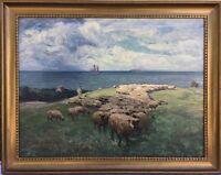 IMPRESSIONIST RICHARD ESCHKE 1859 - 1944 SCHAFE AN DER OSTSEE - HIDDENSEE 86X109