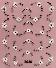 Nail Art 3D Decal Stickers Flower Tips with Rhinestones B028