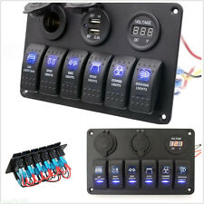 Waterproof 6 Gang Car Auto Boat Marine LED Rocker Switch Panel Circuit Breakers