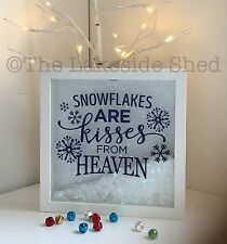 Snowflakes Are Kisses From Heaven Memorial Frame Feathers Wings Rembrance Snow