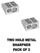 Quality TWO Hole Metal Pencil Sharpner  (PACK OF 2)