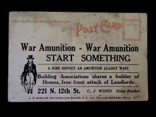 c1910 War Ammunition Advertising On Reverse Of Valentines Day Vintage Postcard