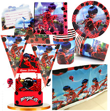 MIRACULOUS LADYBUG CUPCAKE CAKE TOPPER BALLOON BANNER CUP PLATE TABLE COVER BOX