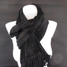 Echarpe noire CHENILLE authentique vintage XXe