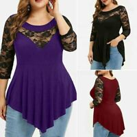 UK Womens Oversize Long Sleeve Lace Splicing Asymmetric Hem Tops T Shirt Blouse
