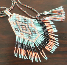 tribal, beach, boho Necklace/pendant/chocker, handmade, beaded, tassel,