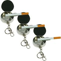 3x Metall Taschen-Aschenbecher Ascher für die Hosentasche als Schlüsselanhänger