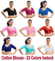 Pure Cotton Blouse Top Shirt Wedding Choli Saree Skirt Bollywood Indian 23Colors