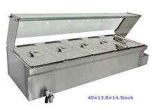 40Inch 5-Pot Bain-Marie Food Warmer(110V,1500W,5*1/3Pans) 6Inch Deep Pan