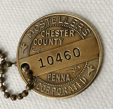 Vintage Charge Plate Coin Brass Tag: MOSTELLERS; Famous Dept Store W. Chester PA