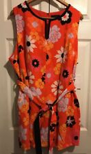 Victoria Beckham size 2x orange floral summer shorts romper new sleeveless plus