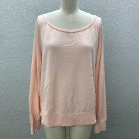 Lab Joy Sweatshirt Tee Top Women's M Pale Pink Scoop Neck Long Sleeve Pullover