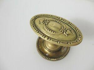 Victorian Brass Door Knob Handle Oval Antique Old Vintage Plate Adam Husks x1