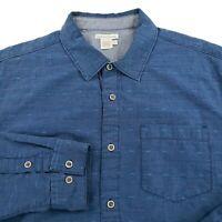 Carbon 2 Cobalt Button Up Shirt Long Sleeve Cotton Mens Sz Large Blue Geometric