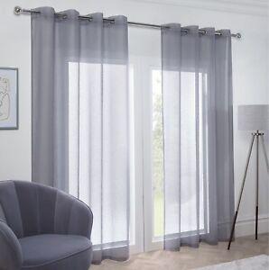 Geometric Sparkle Voile Net Curtain Eyelet Top Silver Grey 229cm Single Panel