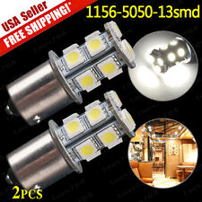2x White 1156 BA15S 5050 13-SMD LED Light Bulbs Turn Signal Backup Reverse 1141