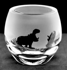 More details for hippo frieze boxed crystal glass tea light holder