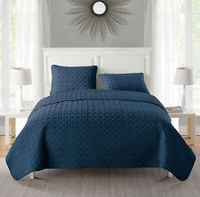 New (Lot of 4) Vcny Home Embossed 3 Piece Quilt Set Size Full/Queen Navy